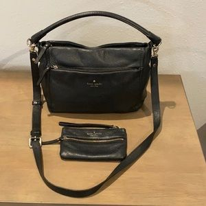 Authentic Kate Spade ♠️ black leather purse & coin